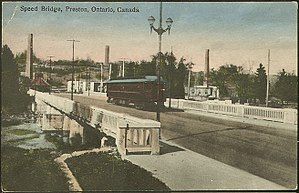 Cambridge, Ontario - An interurban streetcar connected Preston to neighbouring towns.