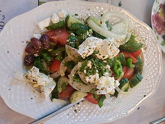 A Greek salad, with feta and olives. Greek Salad from Thessaloniki.jpg