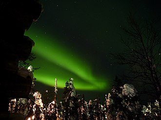One of the main attractions of northern Lapland in terms of tourism is the opportunity to locate bright Aurora Borealis in the sky. The picture was taken from Ruka, Finland in 2011. Green Northern Lights 2.jpg