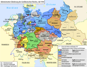 Reichsstatthalter - The (de facto abolished) states and annexed areas of Nazi Germany, 1944.