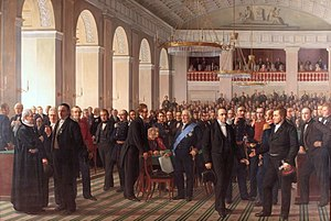 1848 in Denmark - The Constitutional Assembly at Christiansborg Palace in 1848, painted by Constantin Hansen between 1861 and 1865