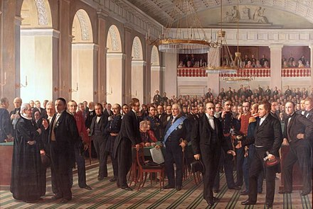 The National Constitutional Assembly was convened by King Frederick VII in 1848 to adopt the Constitution of Denmark. Grundlovgivende rigsforsamling - Constantin Hansen.jpg