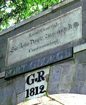 Fort George, Guernsey - Plaques over the entrance of Fort George