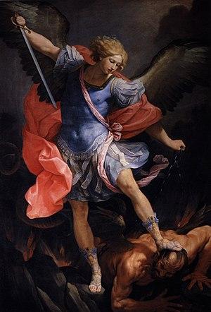 English: Archangel Michael tramples Satan
