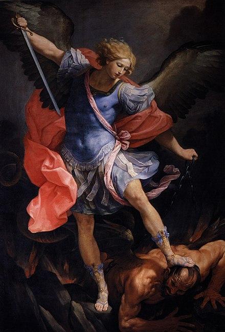 グイドレーニの大天使ミカエル(1636年ローマのサンタマリアデッラコンセツィオーネのカプチン教会)はサタンを踏みにじります。