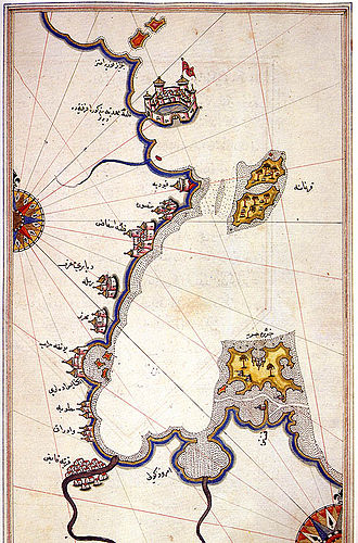 Revolutions of Tunis - Ottoman navigation chart of the 16th century, depicting the southeastern coast of Tunisia