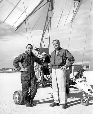 Milton Orville Thompson - Thompson (right) with NASA astronaut Gus Grissom and the NASA Paresev
