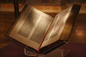 Gutenberg Bible on display at the New York Pub...