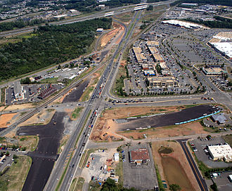 Gainesville, Virginia - Aerial view north along US 29 before the Gainesville interchange was completed. The current roadway layout is significantly different from that depicted here.