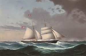 H.D.S. Petersen & P.C. Holm - The Danish brigantine 'Adolph' under reduced sail and heading into stormy weather.jpg