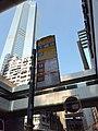 HK 中環 Central 德輔道中 Des Voeux Road Central Hang Seng Bank footbridge bus stop signs The Center facade Saturday Morning November 2019 SS2.jpg