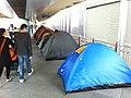 HK Central footbridge Sunday holiday visitors n blue tents Winter wind Dec-2012.JPG