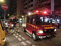 HK Cheung Sha Wan Night Cheung Wah Street Un Chau Street traffic accident Fire Service red car Nov-2013 01.JPG