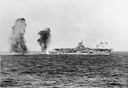British aircraft carrier HMS Ark Royal under attack from Italian aircraft during the Battle of Cape Spartivento (Nov. 27, 1940) HMS Ark Royal attack.jpg