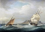 HMS Illustrious heading out of Table Bay in choppy conditions and a stiff breeze, by Thomas Whitcombe (British, 1760-1824).jpg