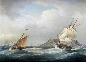 Charles Adam - Image: HMS Illustrious heading out of Table Bay in choppy conditions and a stiff breeze, by Thomas Whitcombe (British, 1760 1824)