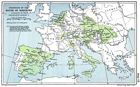 A map of the dominion of the Habsburgs following the Battle of Mühlberg (1547) as depicted in The Cambridge Modern History Atlas (1912); Habsburg lands are shaded green. Not shaded are the lands of the Holy Roman Empire over which the Habsburgs presided, nor are the vast Castilian holdings outside of Europe, and particularly in the New World, shown.