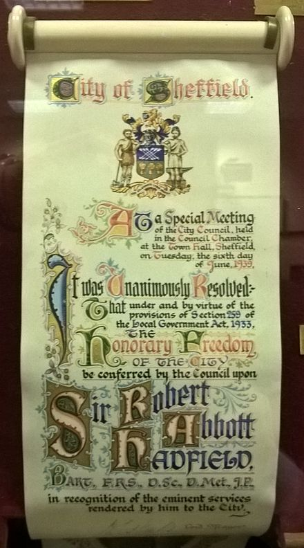 Award to Robert Hadfield by the City of Sheffield Hadfield Freedom of the City of Sheffield.jpg