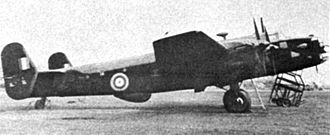 Handley Page Halifax - The test Halifax B Mk II Srs I, serial V9977, in-which the first H2S radar was installed; note the early triangular fins. This aircraft crashed in June 1942 as a result of an engine fire. All on board were killed, including the well-known engineer Alan Blumlein.