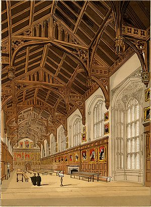 Oxford Parliament (1644) - Christ Church hall, depicted in 1845