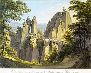 Bastei - The wooden Bastei bridge (1826)