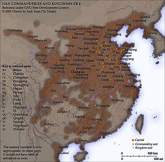 The Historical Atlas of China - Image: Han commanderies and kingdoms CE 2