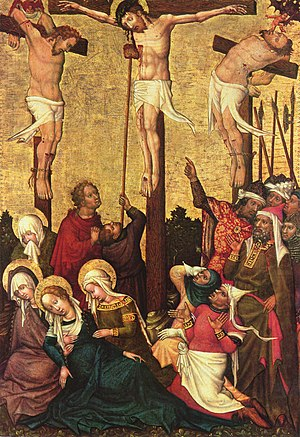 Impenitent thief - Crucifixion by Hans von Tübingen showing the good thief on Christ's right (the left of the picture), and the impenitent thief on Christ's left with a devil. Others portrayed are the Blessed Virgin Mary, Saint John, and the three Marys (Mary Cleophas, Mary Salome and Mary Magdalene).