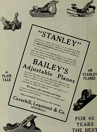 Leonard Bailey (inventor) - Stanley advertising, showing Bailey's plane designs