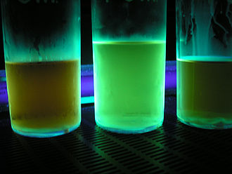 Harmala alkaloid - Harmaline and harmine fluoresce under ultraviolet light. These three extractions indicate that the middle one has a higher concentration of the two compounds.