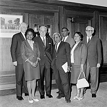 Gordon Bryant Left Prime Minister Harold Holt Centre And Bill Wentworth Right Meeting With FCAATSI Representatives From To