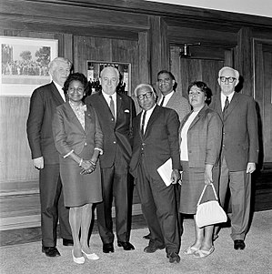 Federal Council for the Advancement of Aborigines and Torres Strait Islanders - Gordon Bryant (left), Harold Holt, and Bill Wentworth (right) meeting with FCAATSI representatives – from left to right, Faith Bandler, Douglas Nicholls, Burnum Burnum, and Winnie Branson.