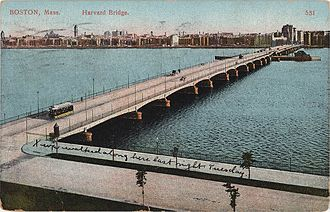 Harvard Bridge - Postcard showing Harvard Bridge looking toward Boston in 1910, from the roof of the Riverbank Court Hotel (now Maseeh Hall, an MIT dormitory)