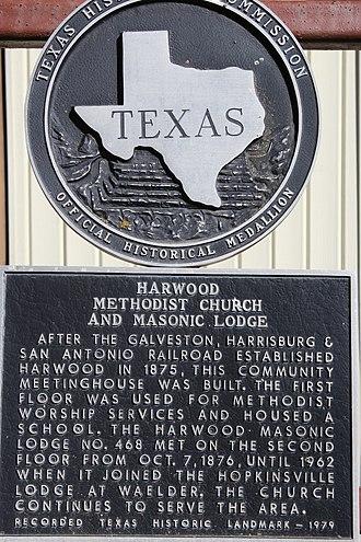 Harwood, Texas - Image: Harwood methodist church&masonic lodge 2016 1