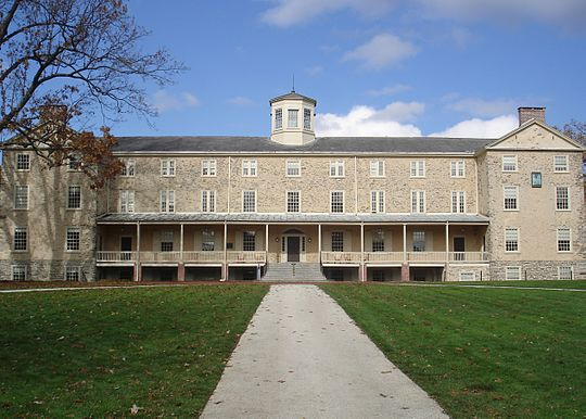 Founders Hall, completed in 1833, sits at the center of the upper campus and serves as an icon for the college. Haverfordfounders.jpg