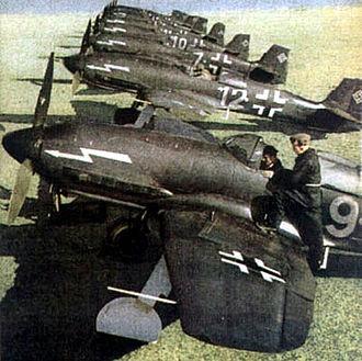 Heinkel He 100 - Colourised wartime image used for propaganda purposes