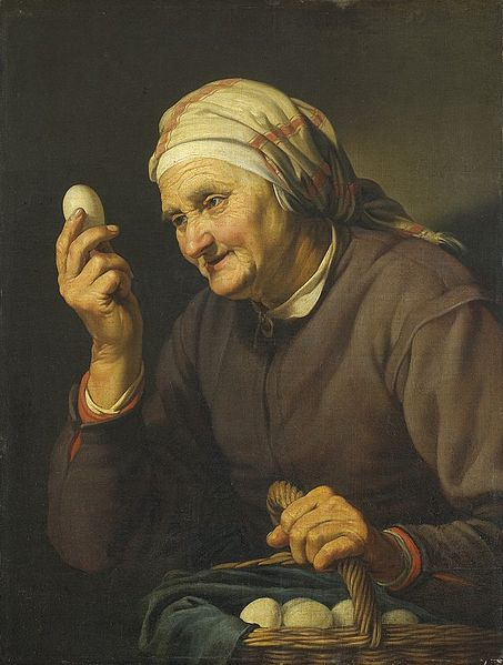 Old woman selling eggs, Hendrick Bloemaert, (c. 1601, Utrecht – 1672).