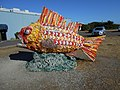 Henry, the fish in Bandon, OR. made from debris that has landed on the beaches from near and afar. (21908029366).jpg
