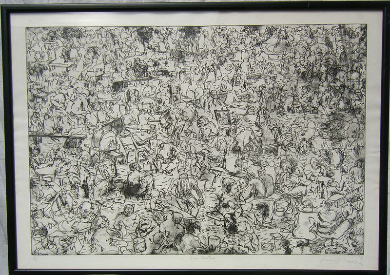 Archivo:Henry Tayali - Bier Garten, 1974, Woodcut (2 of 6).JPG
