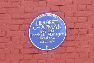 Herbert Chapman - The English Heritage blue plaque outside Chapman's former residence in Hendon, the first such plaque to commemorate a football player or manager