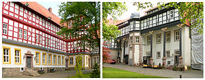Herzberg Castle - Interior courtyard with timber-framed houses on stone plinths