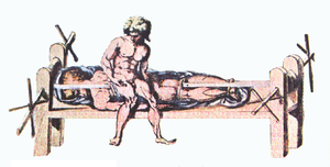 A drawing of a Hippocratic bench from a Byzantine edition of Galen's work in the 2nd century A.D.