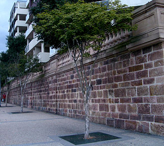 Holy Name Cathedral, Brisbane - This retaining wall and balustrade is the last remnant of Brisbane's Holy Name Cathedral