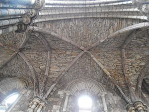 Holyrood Abbey - The aisle vault of the 4th bay, showing the rough quality of the construction.
