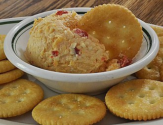 Cheese spread - Homemade pimento cheese spread with crackers