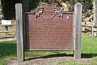 Hope Furnace 1854-1874 historical marker.jpg