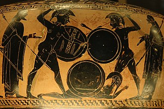 Greeks - Hoplites fighting. Detail from an Attic black-figure hydria, ca. 560 BC–550 BC. Louvre, Paris.