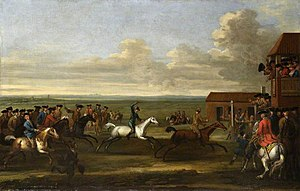 Bay Bolton - Horse Race at Newmarket (The Duke of Bolton's Bay Bolton defeating the Duke of Somerset's Grey Windham (Old Wyndham) at Newmarket on either 12th November 1712 or 4th April 1713), by John Wootton, 30 x 46 inches.