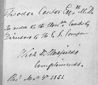 Thomas Horsfield - Writing on Horsfield's Catalogue of the mammals in the East India Company Museum on a copy to Theodore Edward Cantor