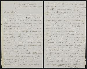 Robert Gould Shaw - Letter from Robert Gould Shaw to his father from Camp Andrew, May 1861