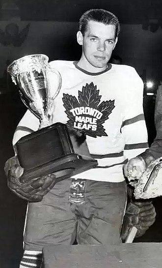 Howie Meeker - Howie Meeker being presented the Calder Memorial Trophy as the NHL's top rookie in 1947